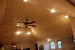 Boxcar siding installed on entire ceiling